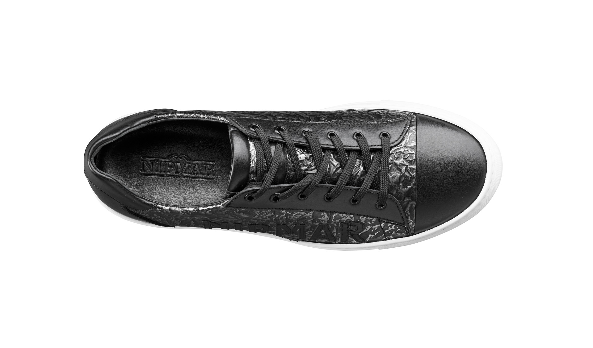 Metal Print Leather Trainers