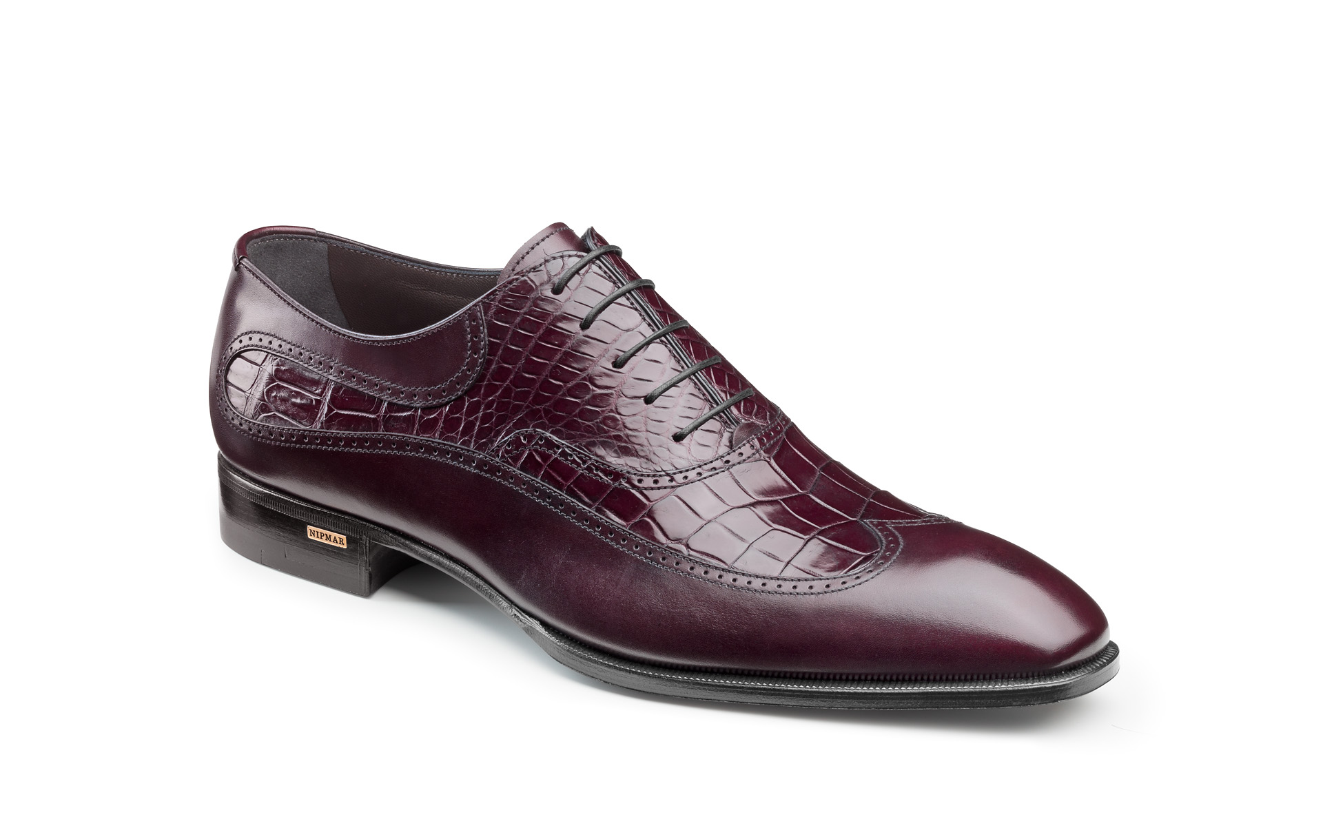 Croco and Calfskin Wing Tip Oxfords