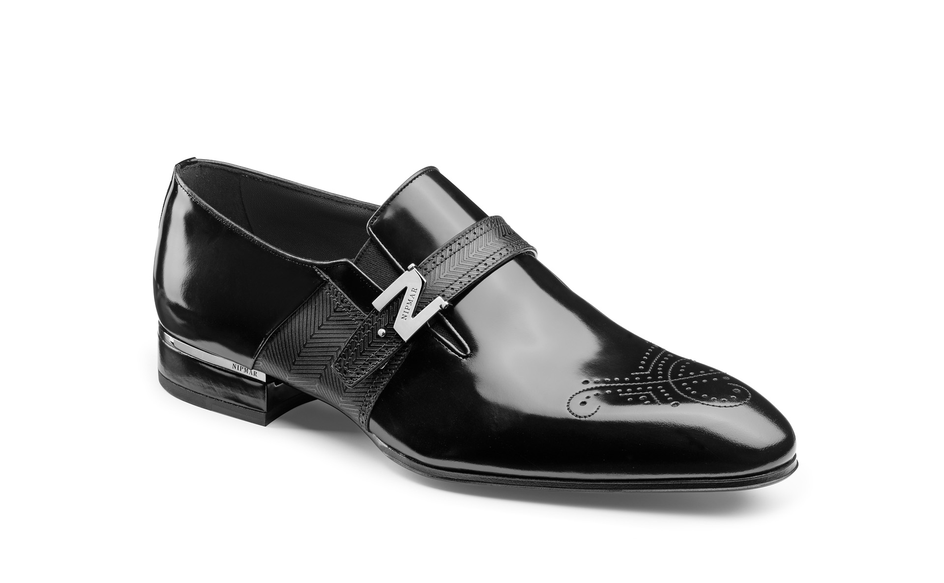 Hi-Shine Calfskin Buckle Shoes