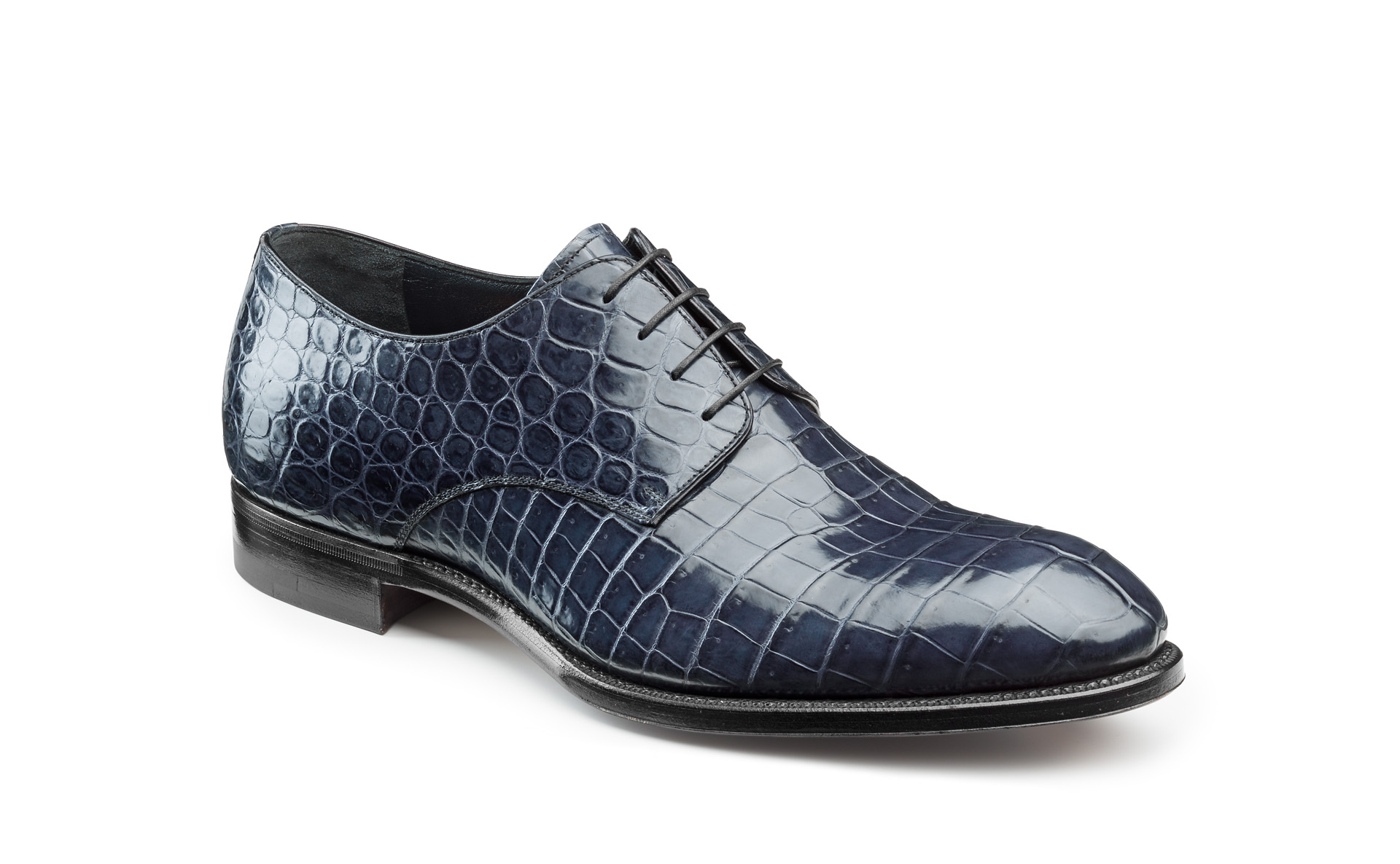 Hand-Welted Croco Derby Shoes