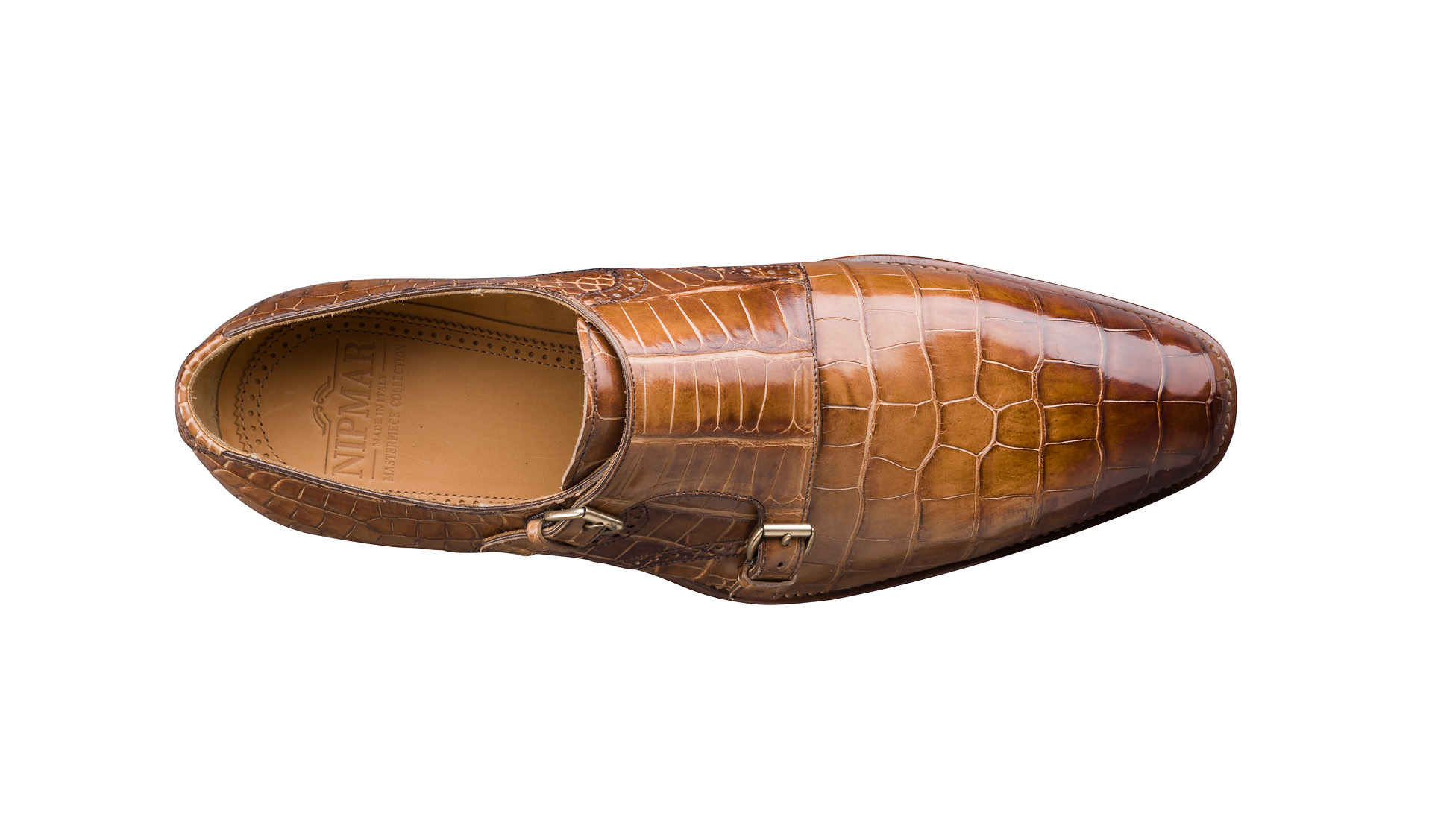 Aged Alligator Double Monk Shoes