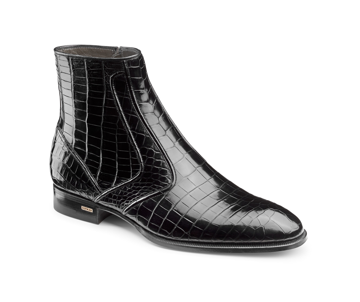 Zipped Croco Ankle Boots